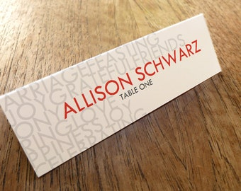 Printable Place Cards - Place Card Template - Place Card PDF - Download & Print - Red and Gray Text - Typographic Place Card - Lettering