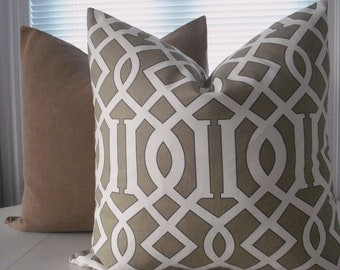 Geometric-- Decorative PillowCover--Designer Fabric--Euro  Throw Pillow -Tan/Black /Ivory, COTTON