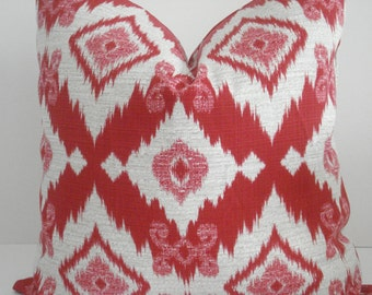 BOTH SIDES-Richloom -- Decorative Designer Pillow Cover-Geometric - Russet Red /Ivory Throw / Lumbar Pillow