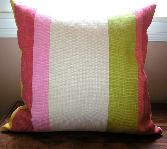 Beach Stripe home decor bright cotton linen tropical colorful decorative pillow cover