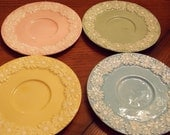 Vintage Set of Daisy Edge Pastel Colored Plates
