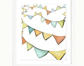 Flag Bunting in The Breeze,  Wall Decor,  Contemporary Artists Art Print