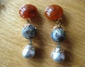 Les Bernard Glass Pearl Drop Earrings