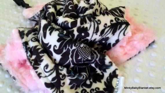 "Minky Baby Blanket - Dynasty Damask in Black and White - Light Pink Minky Swirl - XL Lovey 18"" x 18"""