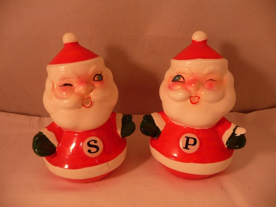 Vintage Holt Howard Christmas Winking Santa Salt and Pepper Shakers TLC