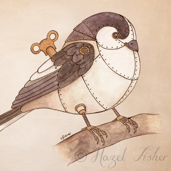 Clockwork Bird Long-tailed Tit - 8x10 inch Print - steampunk illustration