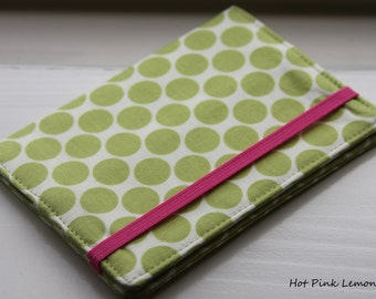 Passport Cover -  Lime Full Moon with Pink OR Black Elastic