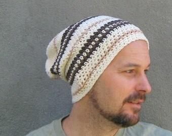cotton slouchy beanie/ cocoa cream crochet