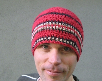 men's cotton beanie/ rich red n' browns crochet
