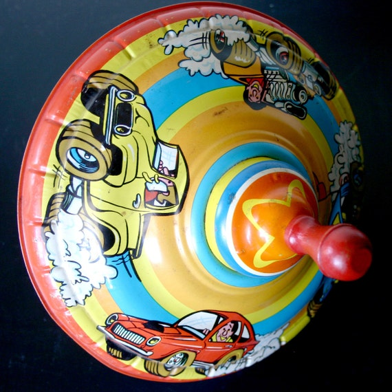 Vintage Ohio Art Spinning Top Cars Colorful Toy Retro