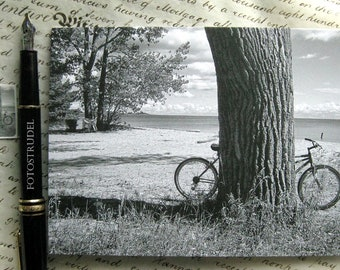 All Occasion Photo Card and Matching Seal. Bicycle by the Tree