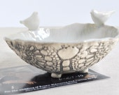 Love Birds bowl ceramic sculptural serving bowl wedding decor in gray