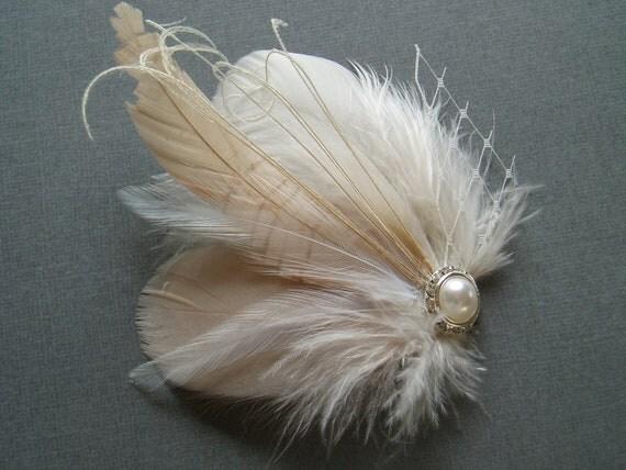 Wedding Hair Piece Bridal Hair Accessory Bride Feather Fascinator, Feather Hair Piece, ivory nude blush hair clip