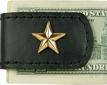 Handcrafted Leather Money Clip with Gold Star Cutout Concho