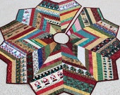 Christmas Tree Skirt Quilt - 53 Inch Country Strings