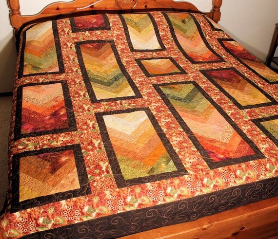 Queen Size Bed Quilt, Autumn French Braid Bedding in Rust Brown Green Gold, Chevron Style Quilt, Double Bed, Full Bed Size