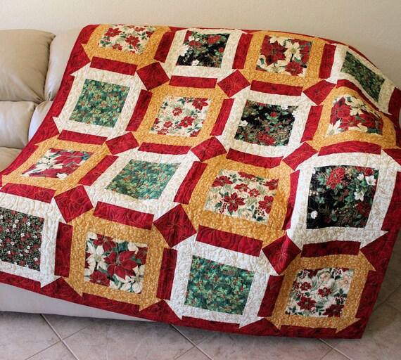 Poinsettias Christmas Lap Quilt Sofa Throw Blanket