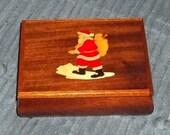 Vintage Piopo Wood Musical Jewelry Box w/Inlaid Santa Claus - Italy - Gorgeous