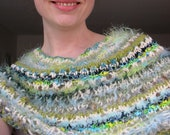 Sage Biscay Bay Knit Cowl Collar Shawl - Amanishakheto / turquoise green cream