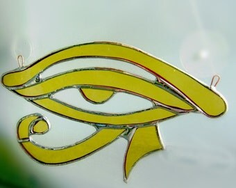 Eye of Ra Eye of Horus Egyptian Stained Glass Amber Yule Mothers Bridal Birthday Pagan Wicca Original Design©