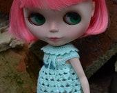 Blythe Doll Crochet Dress Handmade Pastel Green Collar TamsArt
