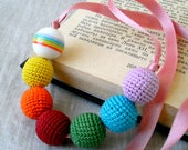 Rainbow Necklace - Crochet Beads Necklace - Children's Necklace - Crochet Jewelry - Baby Necklace