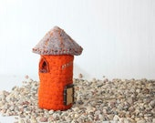 Wool Old Red Tower, Felted Miniature House, soft sculpture, red, orange