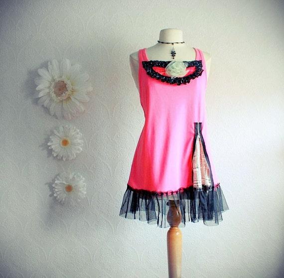 Plus Size Pink Tunic Top 1X 2X Black Zipper Shirt Upcycled Clothing Bohemian Ladies Clothes Sleeveless Tank Top 'OPAL'