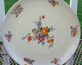 Furstenberg Floral and Gold Dinner Plate - So Lovely - ReDuCeD