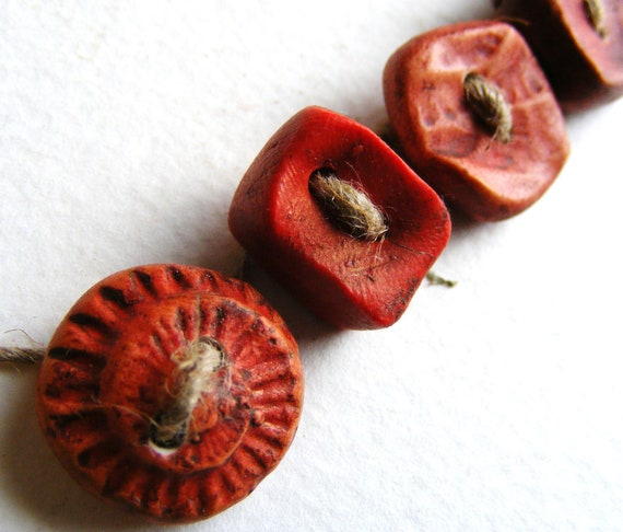5 Artisan Buttons Autumn reds handmade burnished carved clay shabby chic(0)
