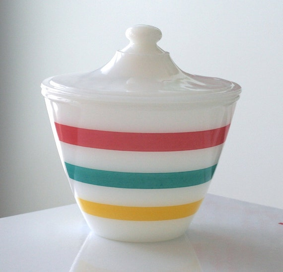 Fire King Fired-On Stripes Grease Bowl