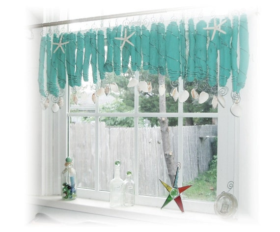 Tiffany Blue Driftwood  Window Treament  Valance