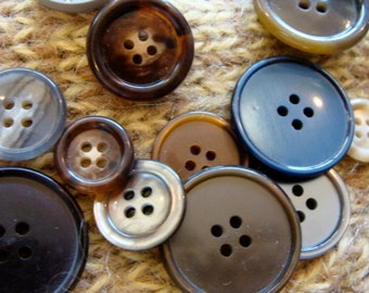 Vintage Button Earth Tone Collection One Dozen Buttons