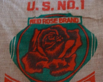 Vintage Feed Sack Burlap Bag For Altered Pillows, Purses and Aprons