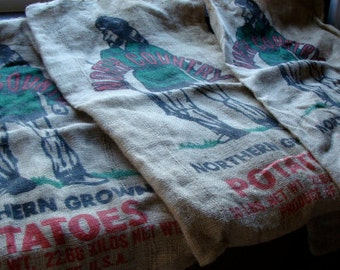 Vintage Burlap Bag Potato Sack For Altered Pillows and Aprons