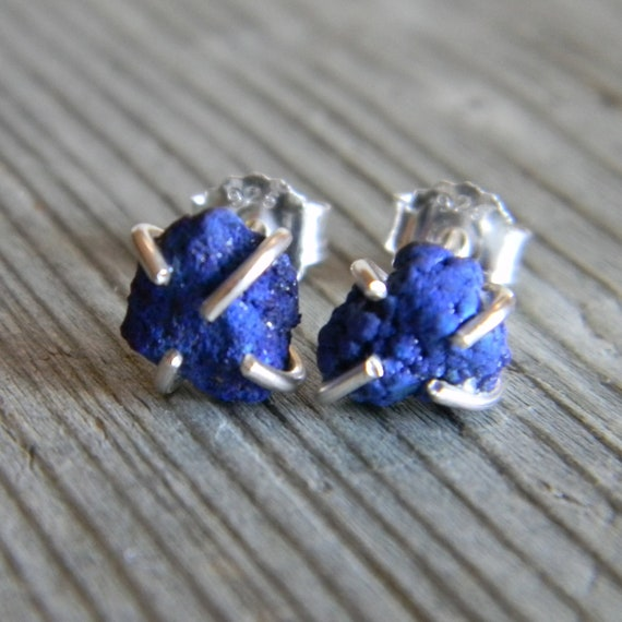 Rustic Prong Set Raw Azurite Stud Earrings in Sterling Silver