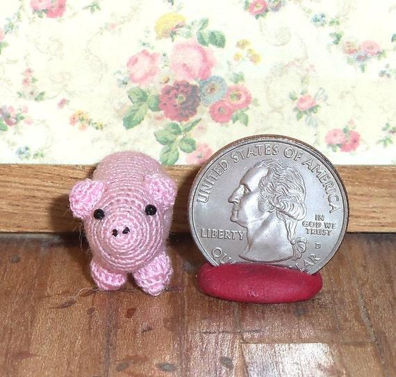 Pink Pig Micro Thread Artist Crochet  Ready to Ship