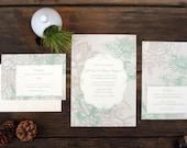 Flower Lace Wedding Invitation - Mint Floral Pattern Elegant Invite