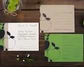 Apple Orchard Wedding Invitations - Green Navy Swirl Set Invite