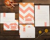 Chevron Wedding Invitation - Pink Ombre Chevron Stripe Pattern Invite