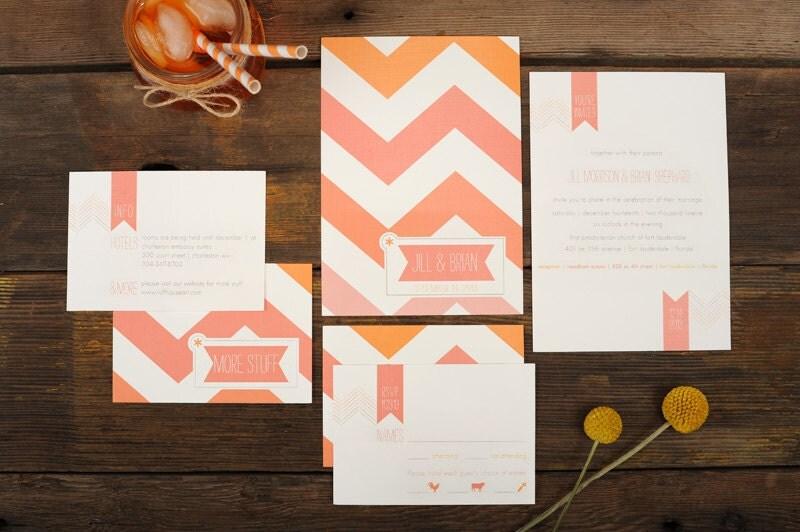 Ombre Wedding Invitation: Chevron Wedding Invitation Pink Ombre Chevron By Ruffhouseart