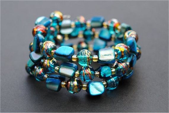 Turquoise Blue Mother of Pearl Memory Wire Bracelet