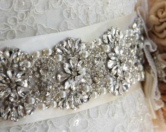 "Bridal sash 11"" Bridal Belt Wedding Sash Crystal Sash Jeweled Belt Satin Wedding Sash belt"