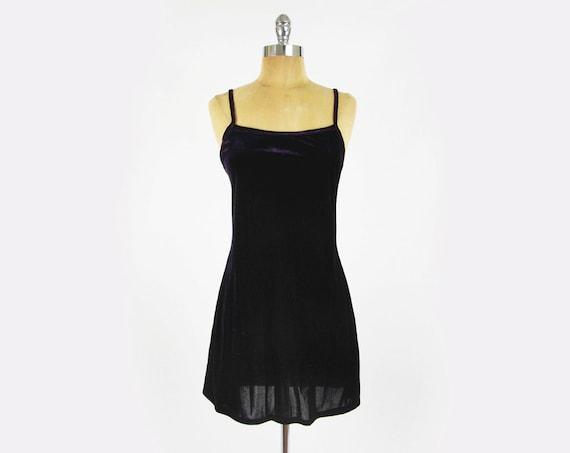 vtg 90s grunge revival goth dark PURPLE VELVET gypsy BABYDOLL stretch bodycon bandage sun mini dress S M