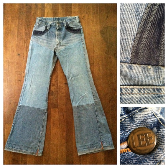 Vintage 70s Custom Patchwork Bell Bottom Jeans Denim