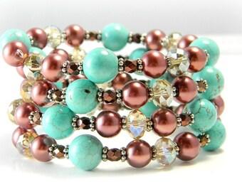 Turquoise Bracelet,Turquoise Cuff Bracelet, Chocolate Brown Bracelet, Crystal Bracelet, Fall Bracelet