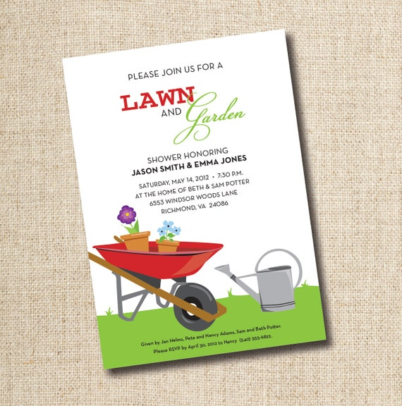 Lawn and Garden Bridal Shower Invitations...Custom, Printable Digital File