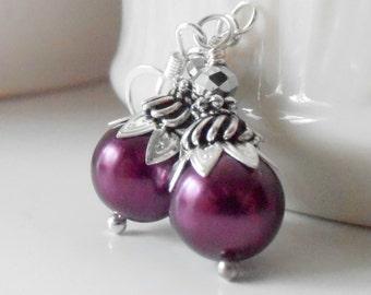 Plum Bridesmaid Earrings, Pearl Dangles, Sangria Wedding Jewelry, Beaded Bridesmaid Jewelry, Plum Earrings, Bridal Party Jewelry