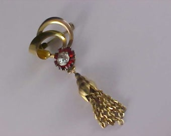 Ruby Red & Diamante Gilt Gold Victorian Style Dangle Brooch