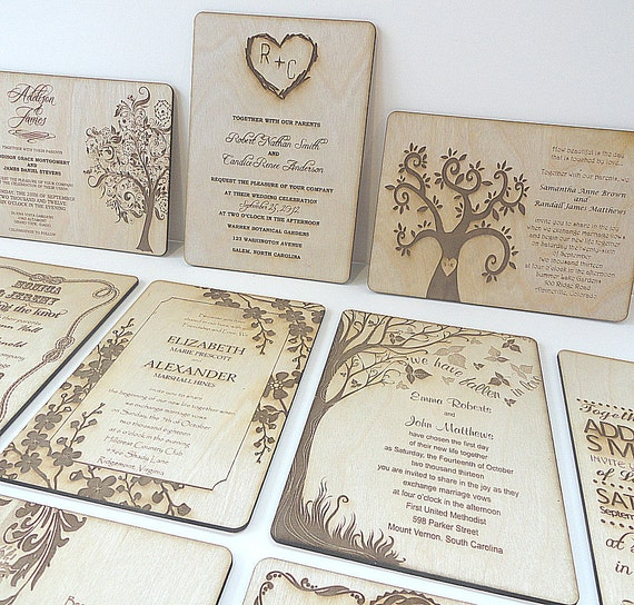 Nature Themed Wedding Invitations Items Similar To Wood Wedding Invitations Nature